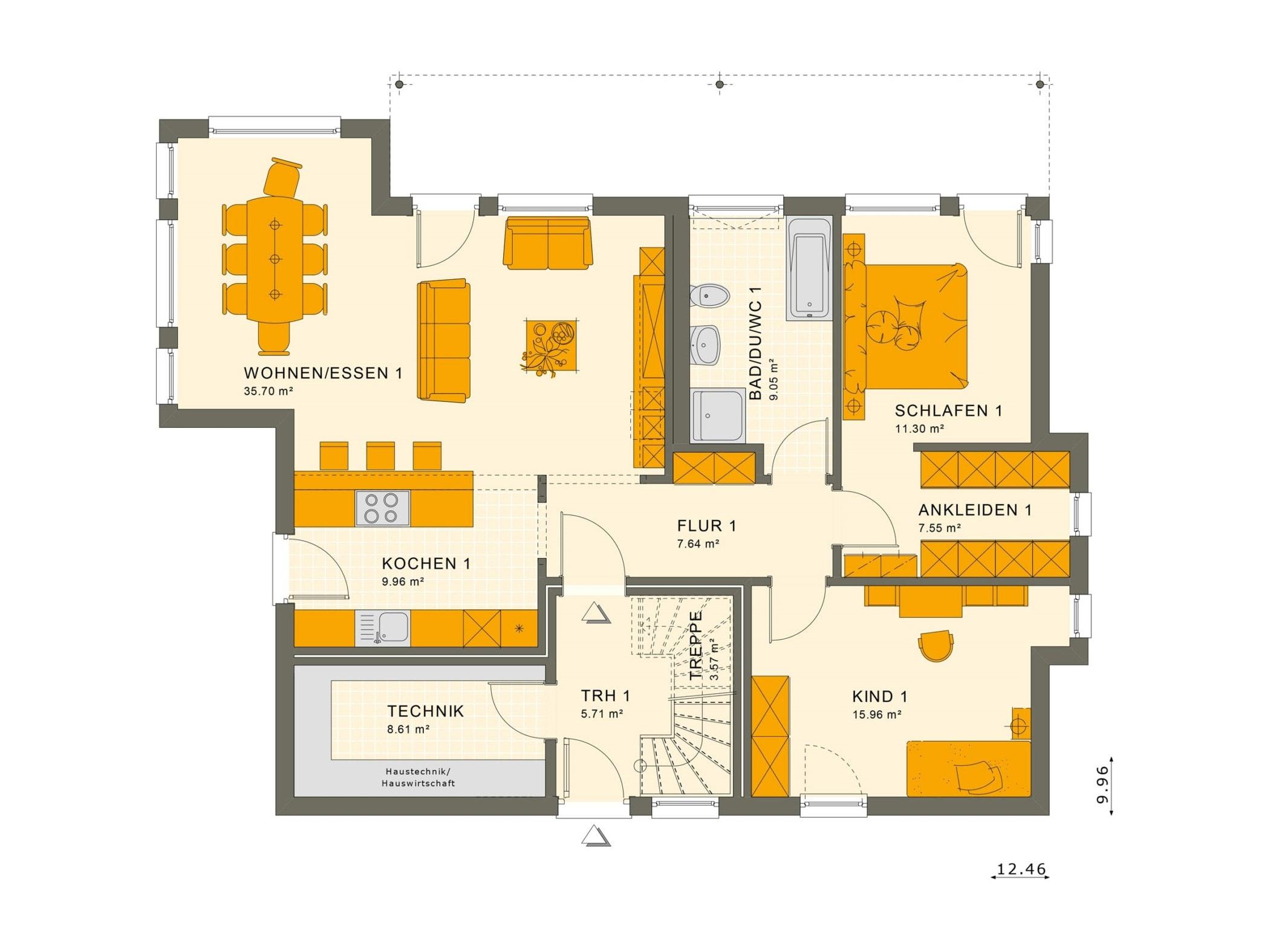 Zweifamilienhaus Stadtvilla Grundriss EG modern mit 2 Wohnungen übereinander - Mehrgenerationenhaus bauen Ideen Fertighaus SOLUTION 204 V8 von Living Haus - HausbauDirekt.de