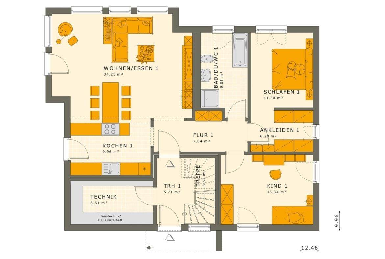 Zweifamilienhaus Stadtvilla Grundriss Erdgeschoss mit 2 Wohnungen übereinander - Mehrgenerationenhaus bauen Ideen Fertighaus SOLUTION 204 V9 von Living Haus - HausbauDirekt.de