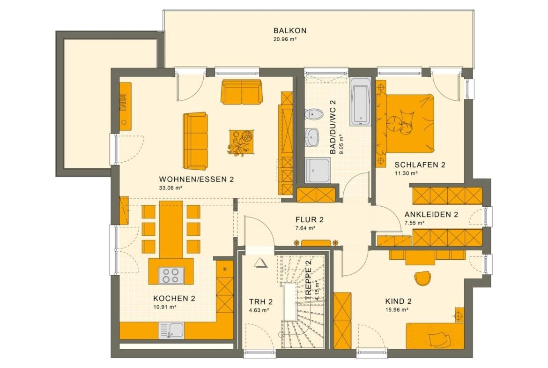 Zweifamilienhaus Stadtvilla Grundriss OG modern mit 2 Wohnungen übereinander - Mehrgenerationenhaus bauen Ideen Fertighaus SOLUTION 204 V8 von Living Haus - HausbauDirekt.de