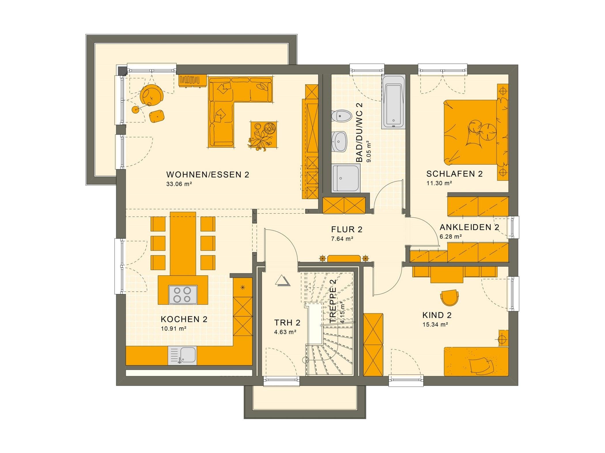 Zweifamilienhaus Stadtvilla Grundriss Obergeschoss mit 2 Wohnungen übereinander - Mehrgenerationenhaus bauen Ideen Fertighaus SOLUTION 204 V9 von Living Haus - HausbauDirekt.de