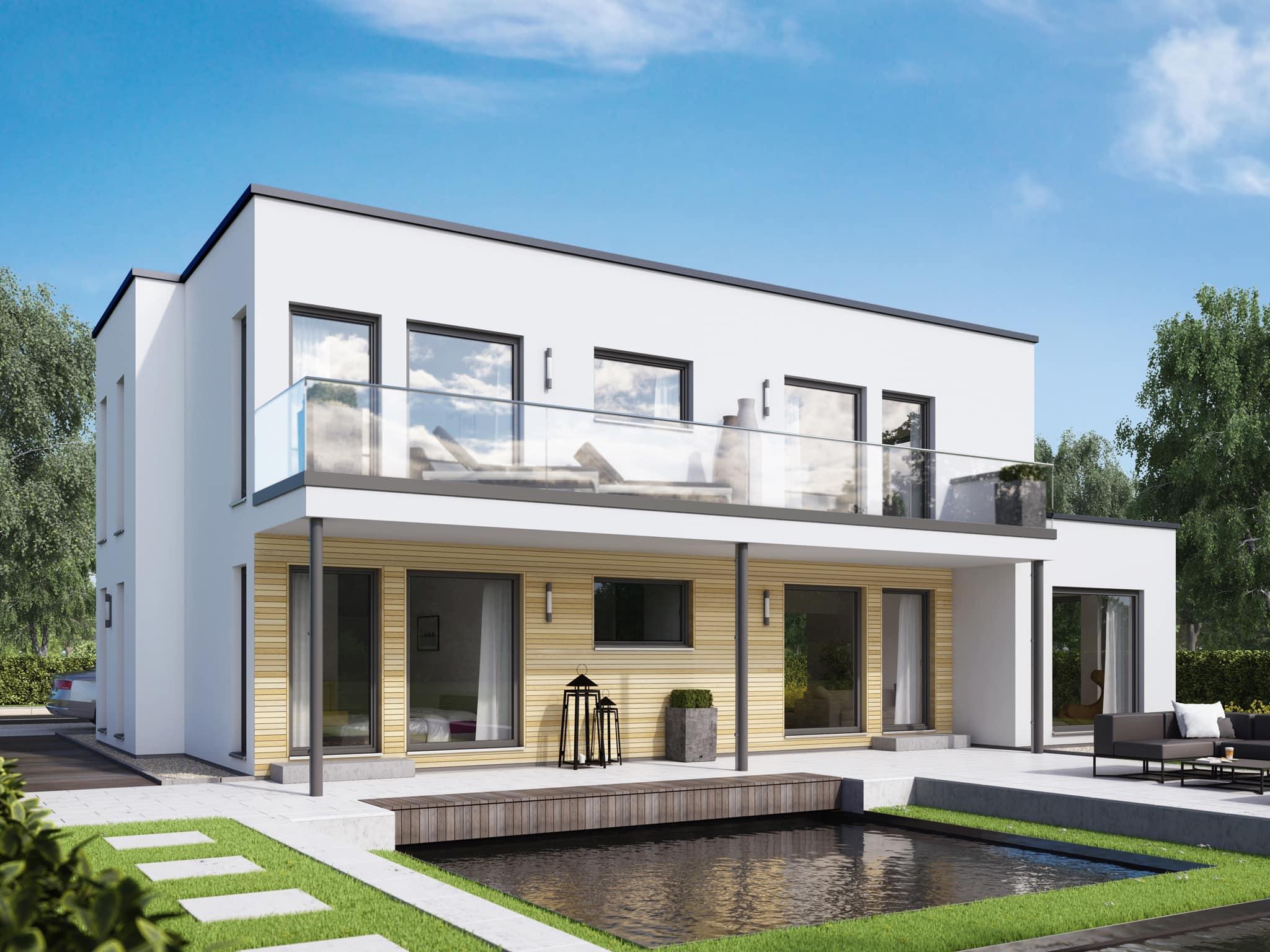 Zweifamilienhaus Stadtvilla modern mit Flachdach Architektur & Wohnungen übereinander - Mehrgenerationenhaus bauen Ideen Fertighaus SOLUTION 204 V8 von Living Haus - HausbauDirekt.de