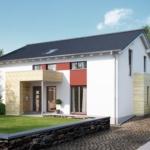 Zweifamilienhaus modern mit Satteldach Architektur & Grundriss Wohnungen übereinander - Mehrgenerationenhaus bauen Ideen Fertighaus SOLUTION 204 V4 von Living Haus - HausbauDirekt.de