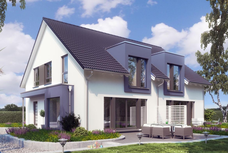 Modernes Doppelhaus & Zweifamilienhaus nebeneinander - Haus bauen Ideen Fertighaus SOLUTION 242 V3 von Living Haus - HausbauDirekt.de