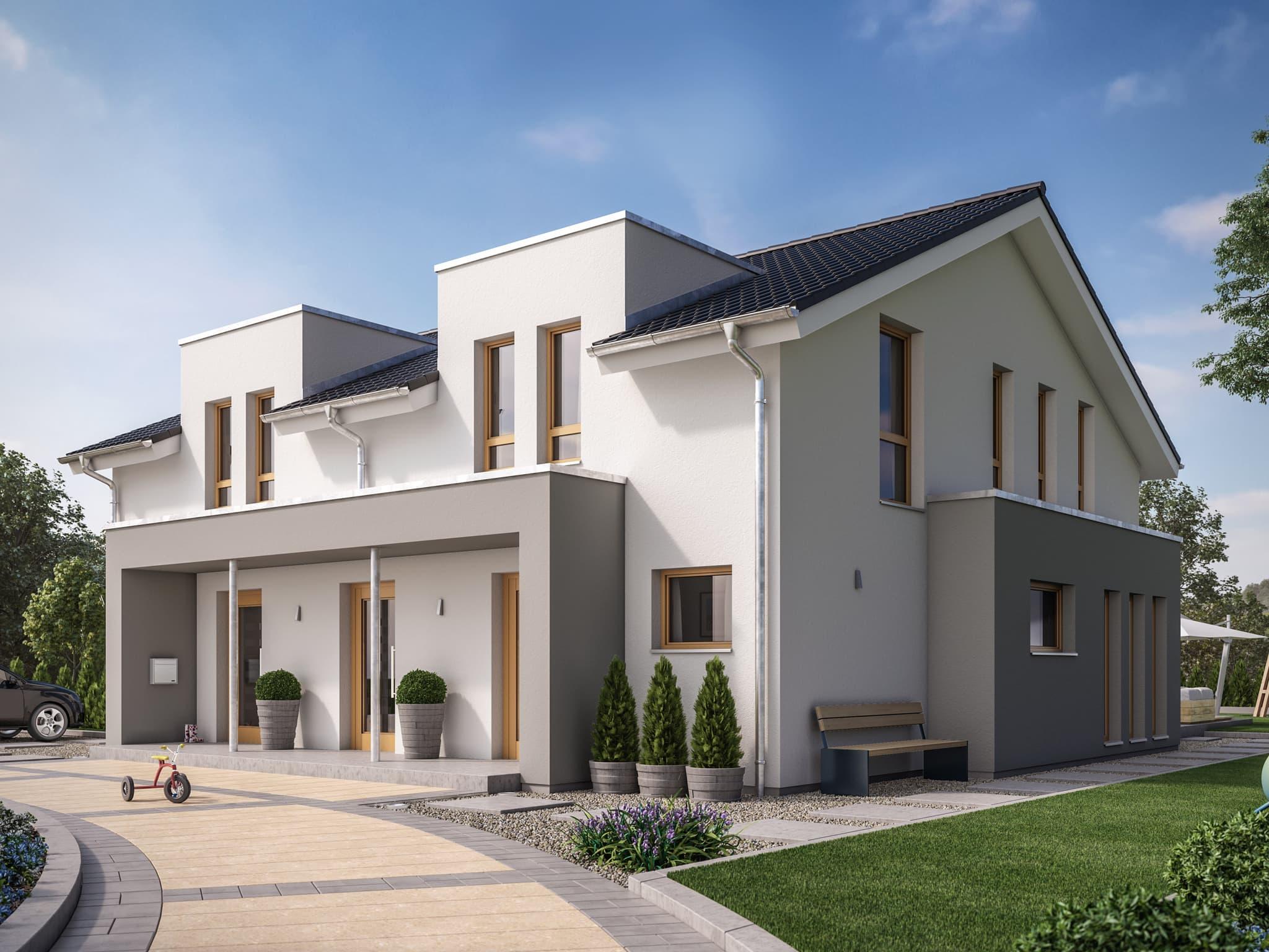 Modernes Zweifamilienhaus Wohnungen nebeneinander mit zwei Eingängen - Doppelhaus bauen Ideen Fertighaus SOLUTION 242 V4 von Living Haus - HausbauDirekt.de
