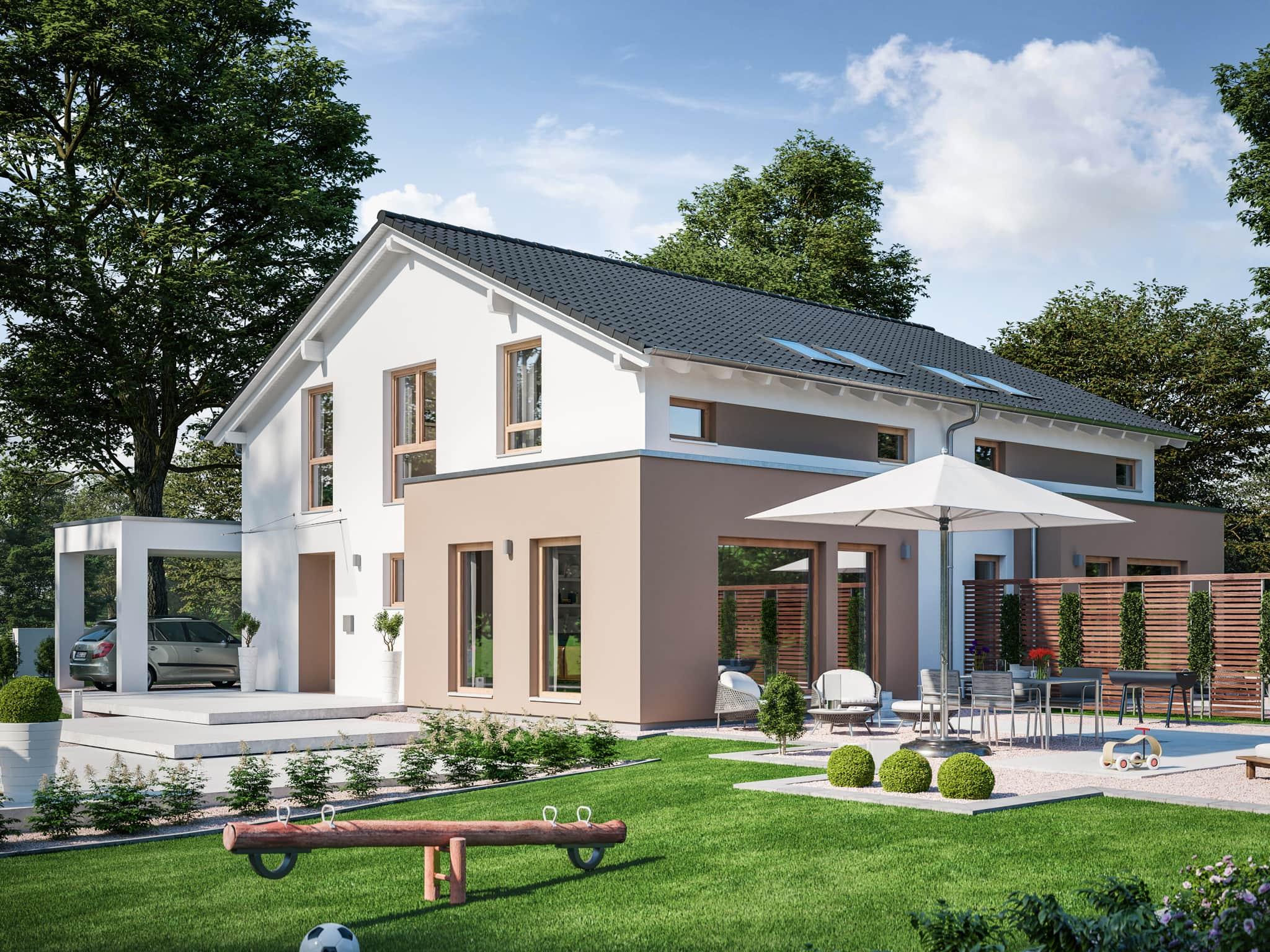 Zweifamilienhaus nebeneinander als Doppelhaus mit separaten Eingängen, Carport & Satteldach - Mehrgenerationenhaus bauen Ideen Fertighaus SOLUTION 242 V5 von Living Haus - HausbauDirekt.de