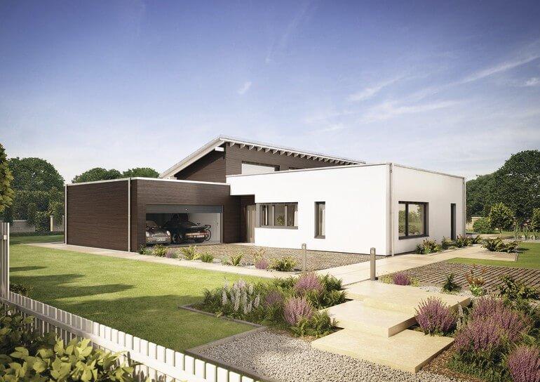 ebenLeben Bungalow Haus mit Garage, Flachdach & Dachboden mit Pultdach - Fertighaus bauen Winkelbungalow ebenLeben von WeberHaus - HausbauDirekt.de