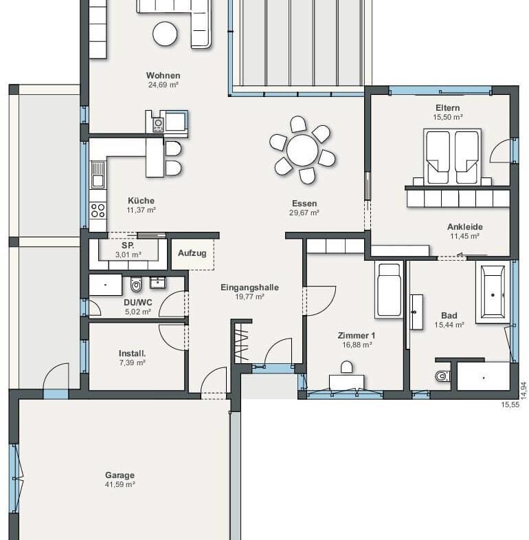 Grundriss Bungalow Haus barrierefrei mit Garage, Flachdach & Dachboden mit Pultdach bauen, 3 Zimmer, 16 qm gross - Fertighaus Winkelbungalow ebenLeben von WeberHaus - HausbauDirekt.de