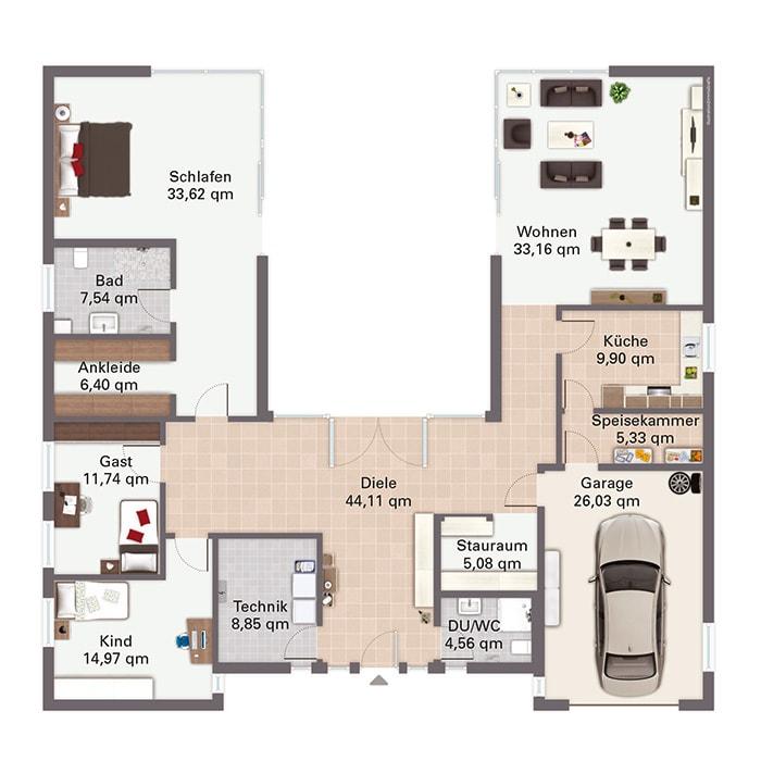 Bungalow Haus Grundriss in U-Form mit Innenhof, 4 Zimmer, 180 qm gross - Fertighaus Bungalow Piemont von GUSSEK HAUS - HausbauDirekt.de