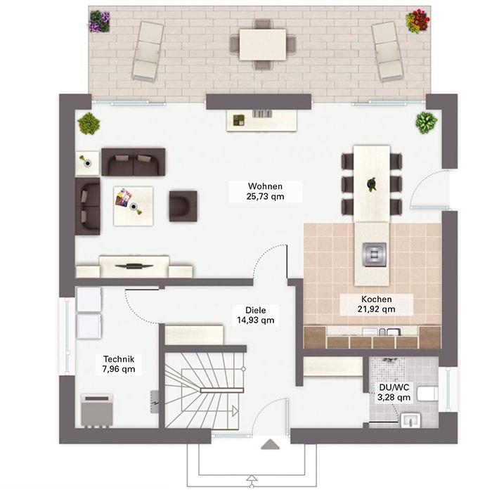 Einfamilienhaus Grundriss Erdgeschoss quadratisch - Fertighaus San Pedro von GUSSEK HAUS - HausbauDirekt.de