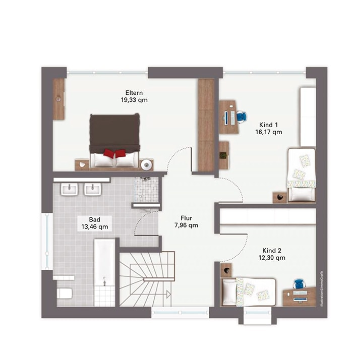 Einfamilienhaus Grundriss Obergeschoss quadratisch mit Flachdach - Fertighaus San Pedro von GUSSEK HAUS - HausbauDirekt.de