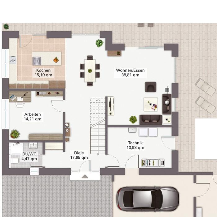 Grundriss Stadtvilla Erdgeschoss mit Garage & gerade Treppe mittig - Fertighaus Baggio von GUSSEK HAUS - HausbauDirekt.de