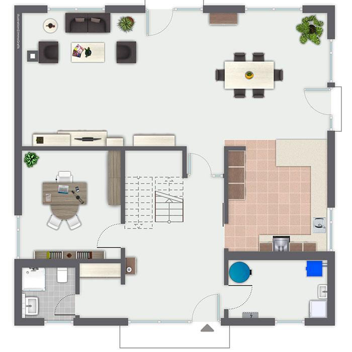 Grundriss Stadtvilla Erdgeschoss quadratisch mit Podesttreppe & Galerie - Fertighaus Ideen Musterhaus Melina von GUSSEK HAUS - HausbauDirekt.de
