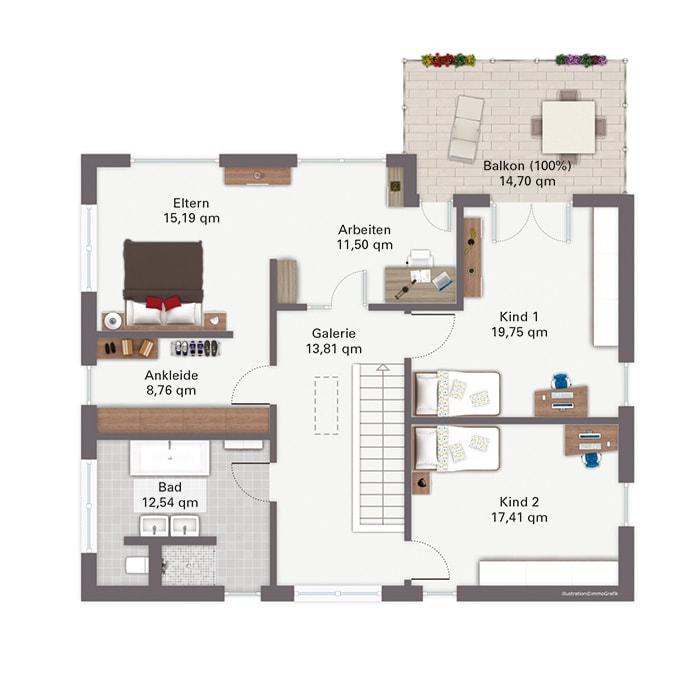 Grundriss Stadtvilla Obergeschoss mit Walmdach, gerade Treppe & Galerie - Fertighaus Baggio von GUSSEK HAUS - HausbauDirekt.de